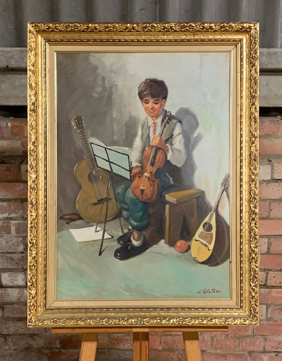 Lovely Vintage Original Oil Painting By J Glotzer Of A Boy With A Violin