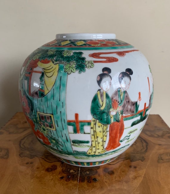 Gorgeous Antique Chinese Vase with Hand Painted Decoration