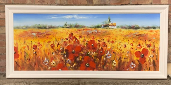 Gorgeous Large Original Oil Painting Of A Poppy Field - Unsigned