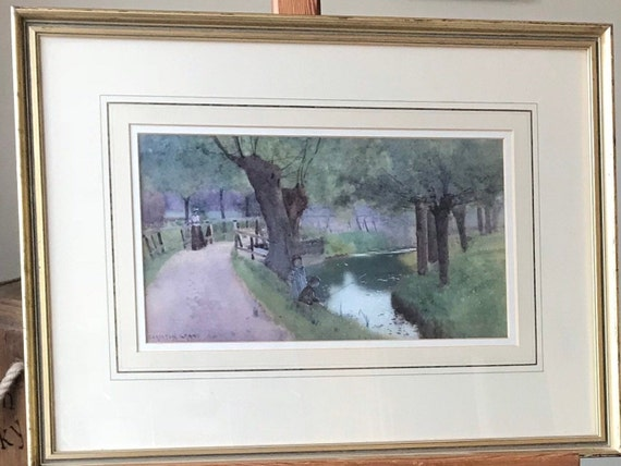 Carleton Grant Watercolour 'Children Fishing at Dusk' Signed by the Artist 1896
