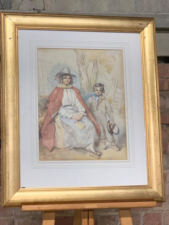 Beautiful 19th Century English School Watercolour Of A Young Woman And Boy Waiting By A Tree