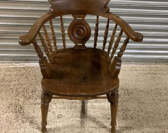 Wonderful Antique Late 19thC Oak Bow Back Smokers / Captains Chairs