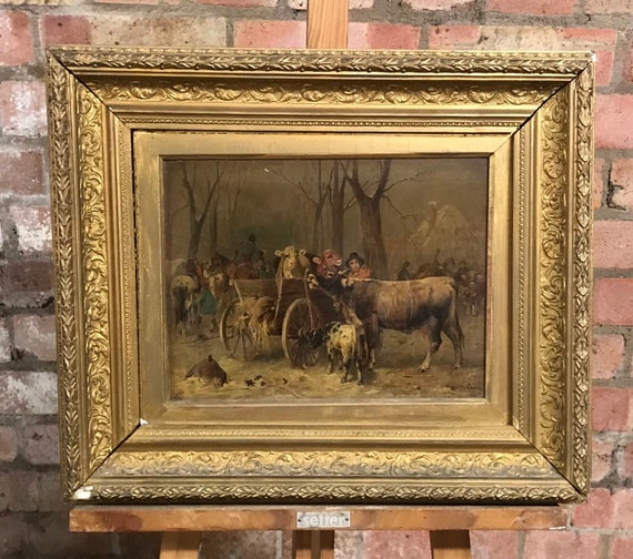 A Gilt Framed 19th Century Oil Painting Of Cattle By Friedrich Otto Gebler