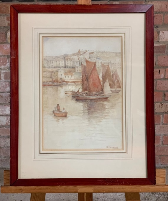 Fabulous 19th Century Watercolour by the American Artist, Wilton Robert Lockwood Titled 'A Cornish Harbour' - 1861-1914