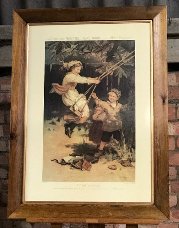 Fabulous Large Vintage Pears Soap Advertising Print Titled 'After School' in a Pine Frame