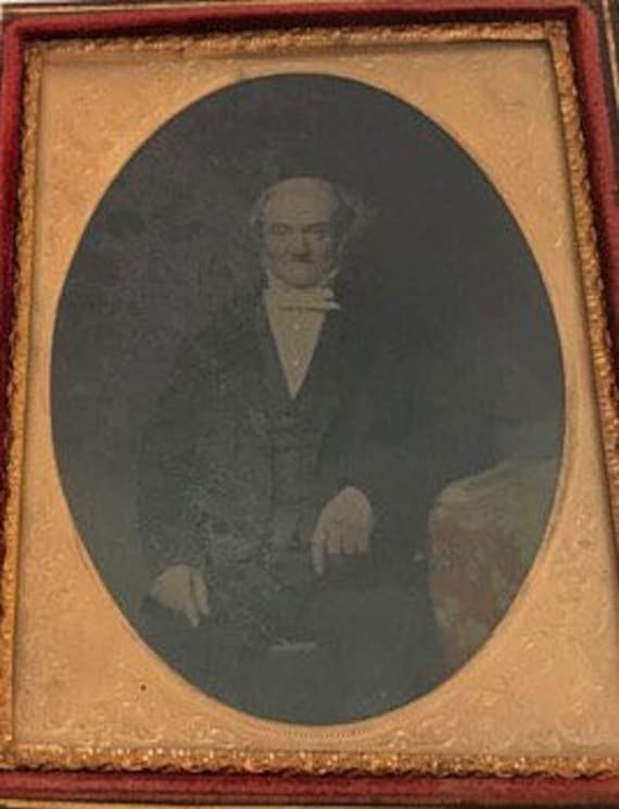 19thC Over Painted Miniature Photograph Of A Gentleman In A Tooled Leather Case