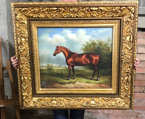 Large Gilt Framed Late 19th/early 20thC Oil Painting Of A Thoroughbred Horse