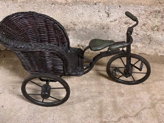 Vintage Wicker Miniature Trike Bicycle Suitable For A Doll Or As A Display Item