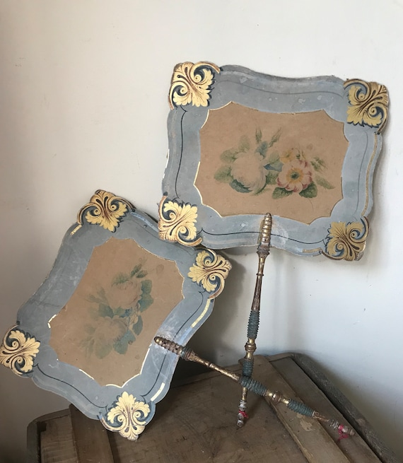 Beautiful Pair of Victorian Hand Painted 19th Century Decorative Handheld Firescreens