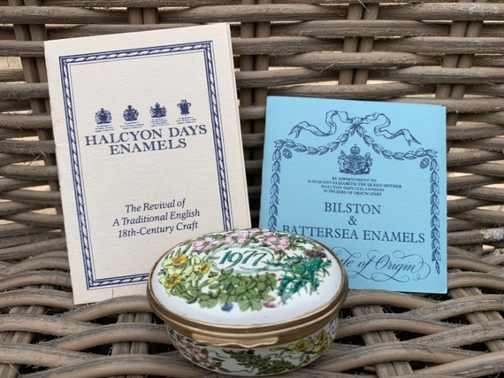 Rare Bilston And Battersea Halcyon Days 1977 A Year To Remember Trinket Box