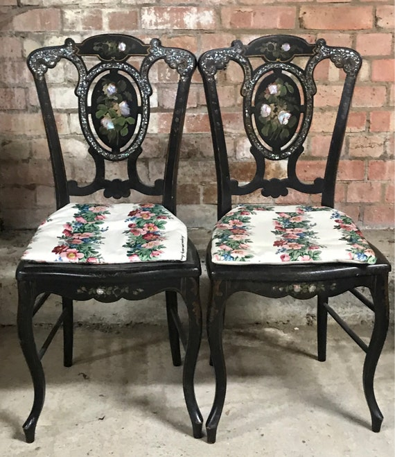 Beautiful Pair Of Elegant Victorian Black Lacquer Mother Of Pearl Salon Chairs