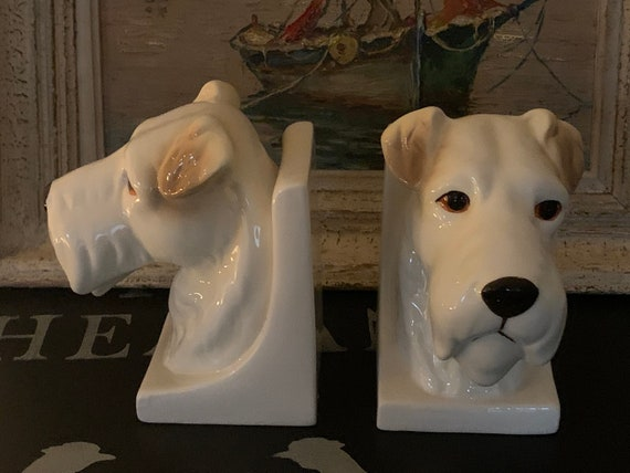 Beautiful Pair Of Vintage Ceramic Terrier Dog Bookends