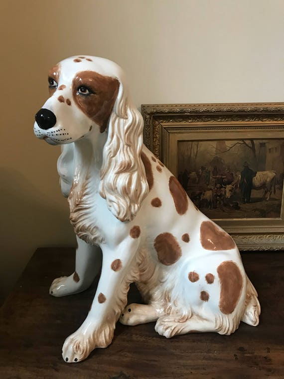 Very Large Beautiful Italian Ceramic Spaniel Dog Statue circa 1960's