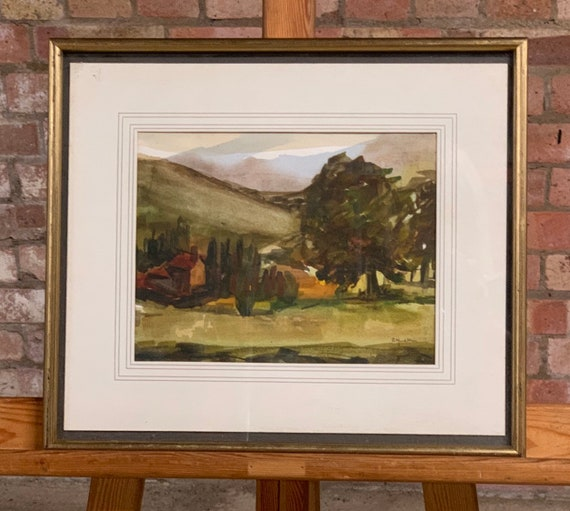 Original Watercolour by Cicely Yudkin of a Rural Scene