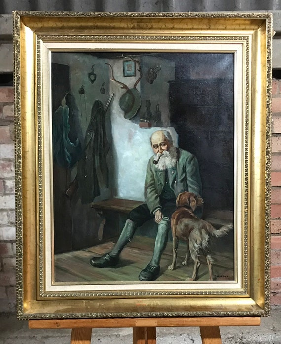 Wonderful Oil Painting of a 19th Century Hunting Gentleman  with his Dog  Possibly Dutch  Signed S Kleber