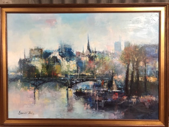 Wonderful Original Cityscape Oil Painting Of London (?) Signed By The Artist. Possibly of a view of one of the bridges across the Thames