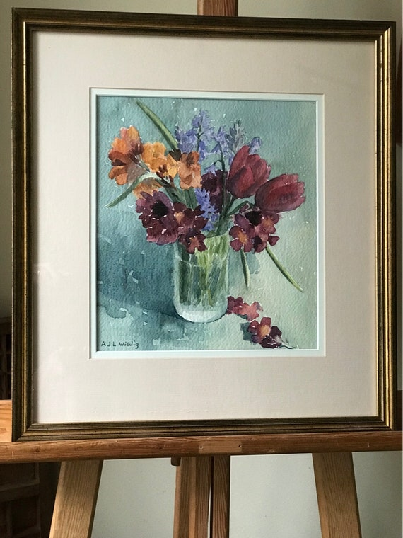 Beautiful Gilt Framed Still Life Watercolour Of A Floral Display By Anthony Wildig