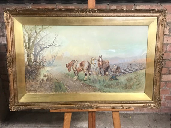 Albert Haselgrave Watercolour Of A Farmer On The Land Working His Shire Horses