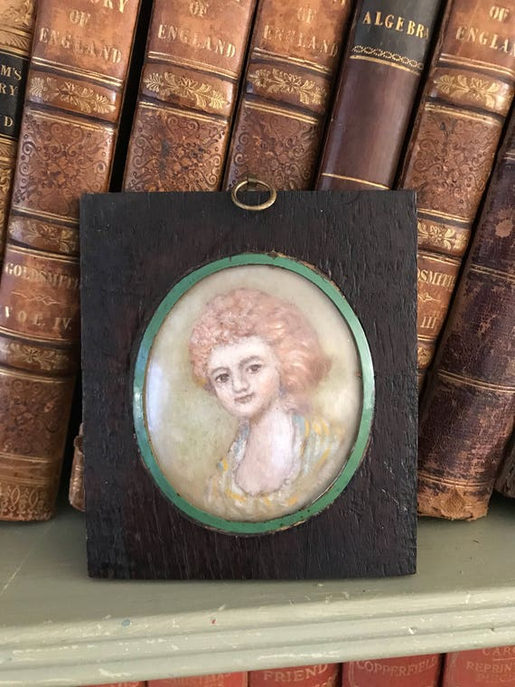 Early 19th Century  Miniature Oil Painting Of A Young Girl
