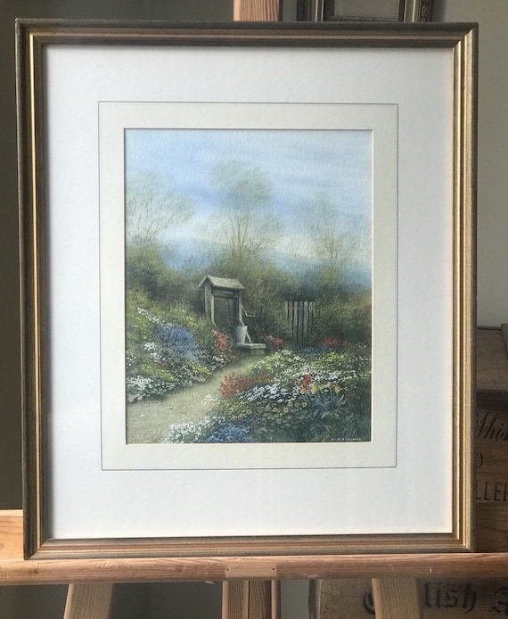 Stunning Watercolour Of A Floral Garden And Well Scene   By David Pritchard