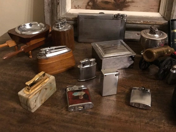 Collection Of 15 Vintage Cigarette Lighters And Ashtrays