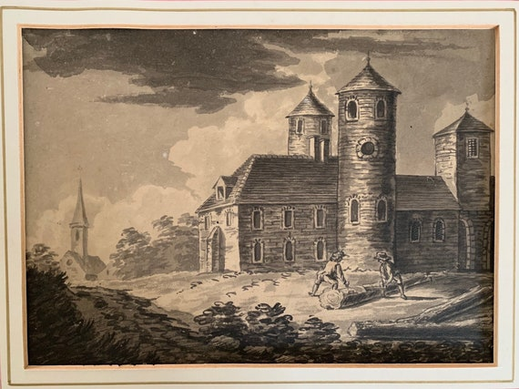 A Lovely Original Early 19th Century Watercolour Of Two Woodcutters Cutting Trees Down in Front of a Church or Castle