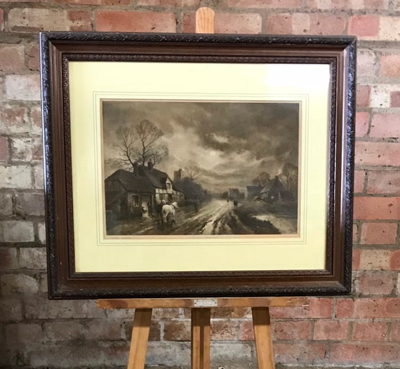 Lovely 19th Century Engraving Titled The Forge - Moonrise By F R London