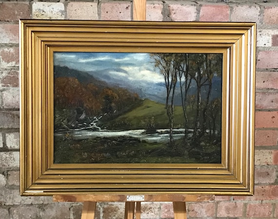 19th Century Gilt Framed Landscape Oil painting on Canvas - Unsigned