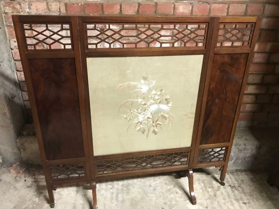 Antique Edwardian Three Folding Fire Screen with Chinese Silk Needlework Panel