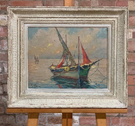 Wonderful Seascape Oil Painting of St Tropez Harbour by the Italian artist Robert Giovani circa 1950's