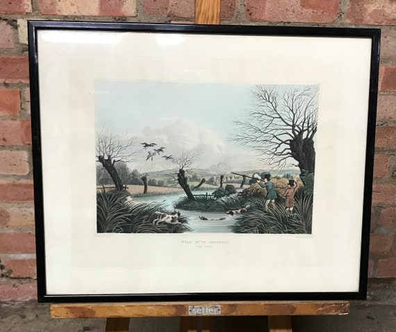 A Rare Coloured Engraving Titled Wild Duck Shooting Near Crowley by Robert Havell Junior Dated 1824