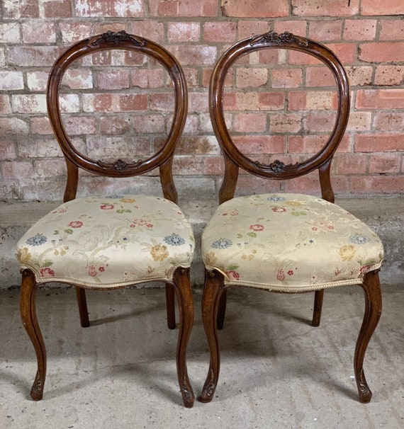 Pair Of 19th Century Victorian Hand Carved Balloon Back Parlour Chairs on Scrolled Legs