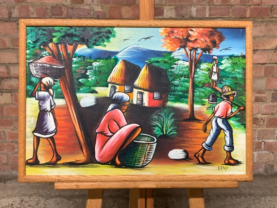 Original Colourful Oil Painting Of A Caribean Village Scene Signed Levy