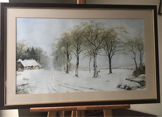 Wonderful Original Watercolour By A P Morris Of A Rural Snowy Winter's Scene