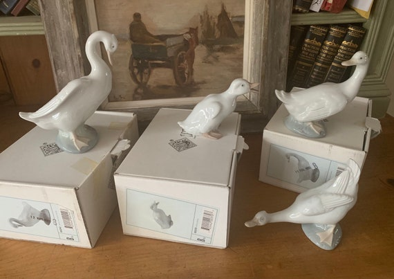Four Nao Lladro Swan Geese Duck Figurines