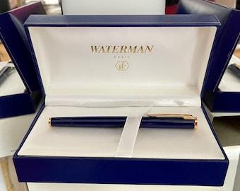 Beautiful Waterman Preface Fountain Pen Blue 18K Medium Pt In Box - Mint Condition