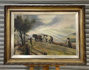 Beautiful Original Oil Painting Titled Ploughing In The Sun Rays By R Massey dated 1913