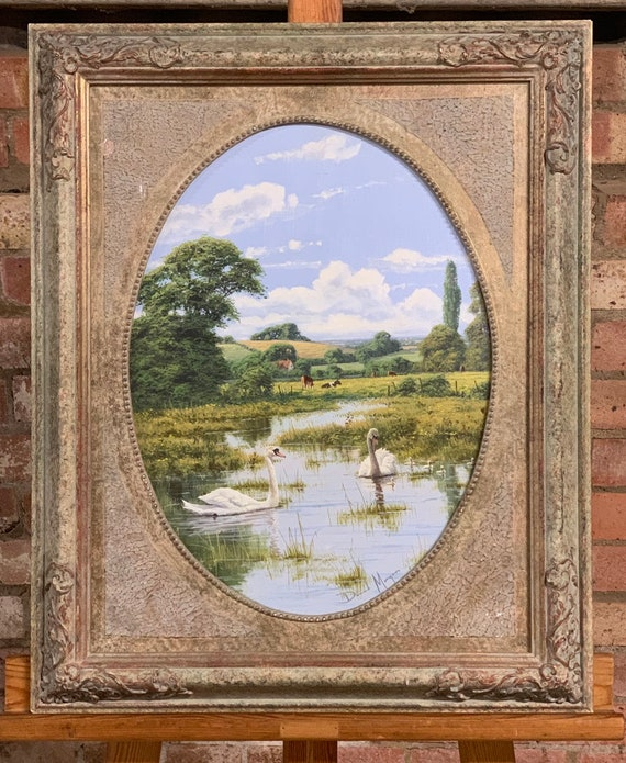 Beautiful Original Oil Painting of Swans with their signets on a lake in a rural scene, by the artist David Morgan