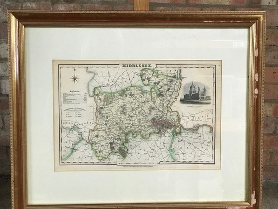 Antique Framed Circa 1831 Pigot Steel Engraving Map Of Middlesex