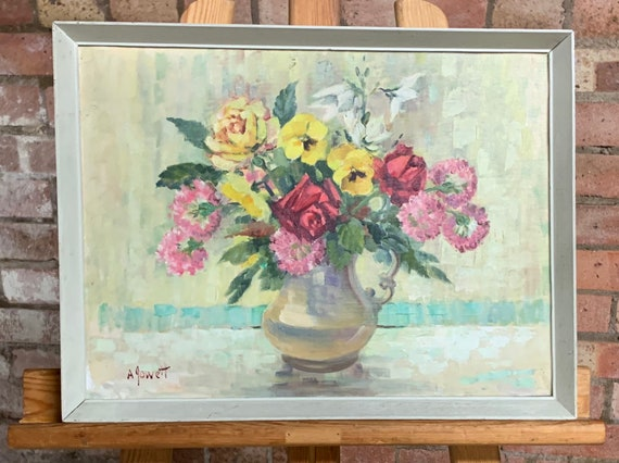 Beautiful Still Life Oil Painting Of Flowers Signed A Jowett