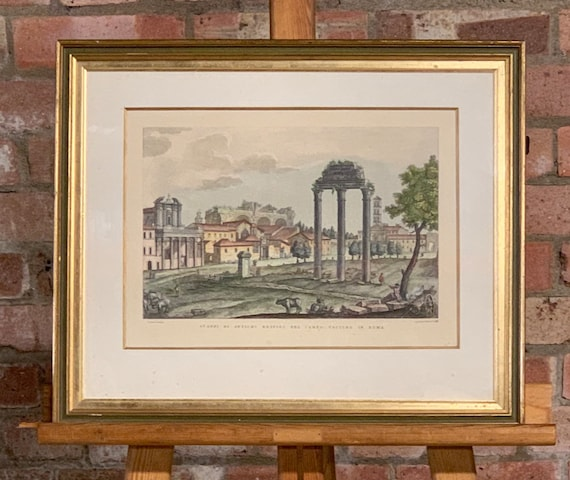 19th Century Hand Coloured Engraving Of An Italian Rome Scene in a Gilt Frame, circa 1844