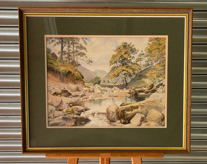 Large Wonderful Original Watercolour Of Borrowdale Lake District By T F Swarbrick