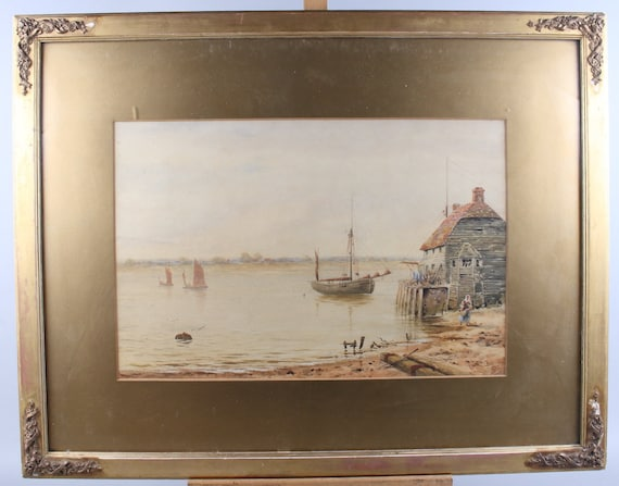 Wonderful Original 19th Century Watercolour of a Harbour Estuary Scene,   Signed lower right, by the artist