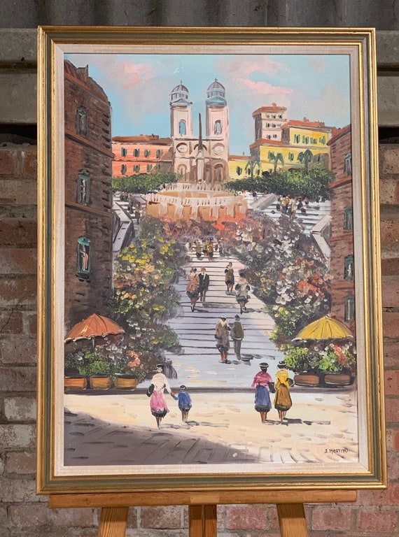 Original Oil Painting of a Picturesque Italian Scene of the Spanish Steps upto the Church of the Santissimia in Rome, Italy, by E Martino
