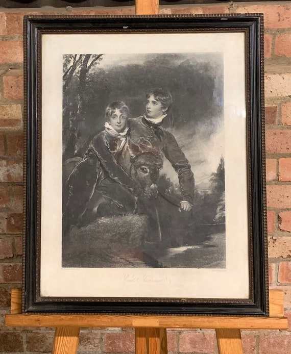 Fabulous Rare Antique 19th Century Engraving after the painting by Sir T Lawrence titled Rural Amusement