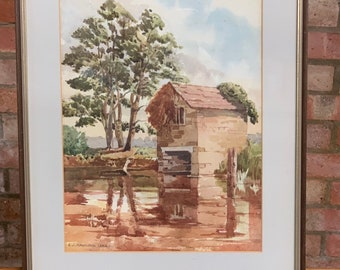 Lovely Original Watercolour Of A Boathouse By The Artist Ethel Louise Rawlins, Dated 1947