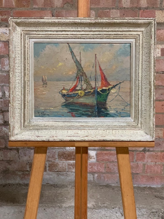 Wonderful Seascape Oil Painting of A Boat in St Tropez by the Italian artist Robert Giovani circa 1950's