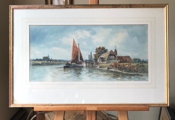 Beautiful Original Watercolour Of A Sailboat On The River Dated 1907 by Arthur George Watts