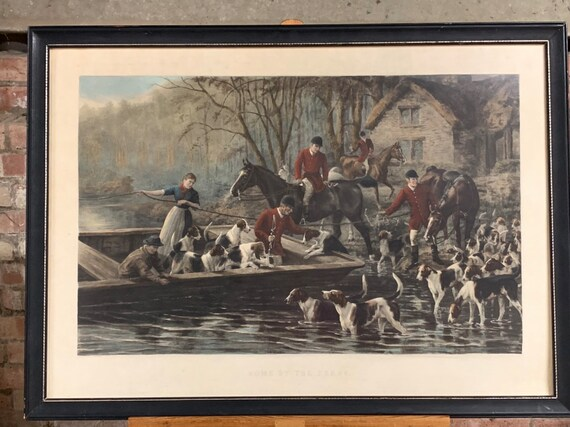 Large Quality Antique Hand Coloured Engraving after the painting by G F Thomson 'Home By The Ferry'