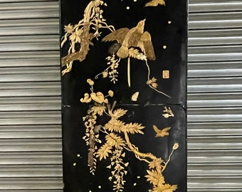 Large Antique Oriental Lacquered Panel Decorated With Carvings Of Birds, Foliage and Butterflies